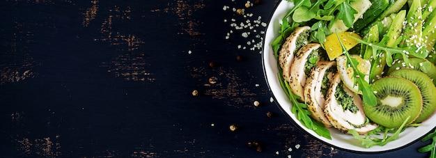 Prato de tigela de buda com filé de frango, abacate, pepino, salada de rúcula fresca e gergelim. desintoxicação e conceito de tigela de dieta saudável ceto. visão aérea, superior, configuração plana, espaço para texto
