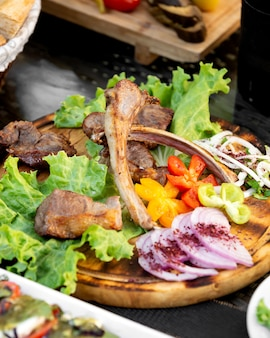 Prato de tikka kebab servido com fatias de cebola legumes e alface