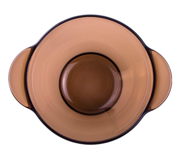 Prato de vidro marrom com duas alças em cada acompanhamento para a sopa. ver para cima