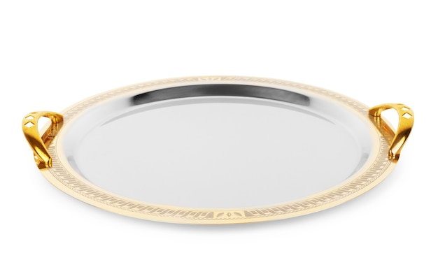 Prato dourado vazio isolado sobre fundo branco