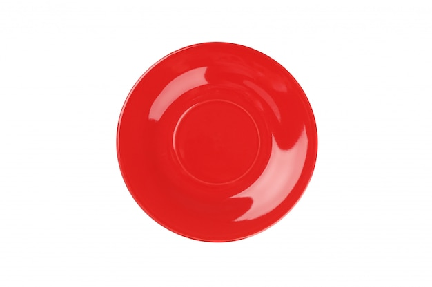 Prato limpo vermelho isolado no branco