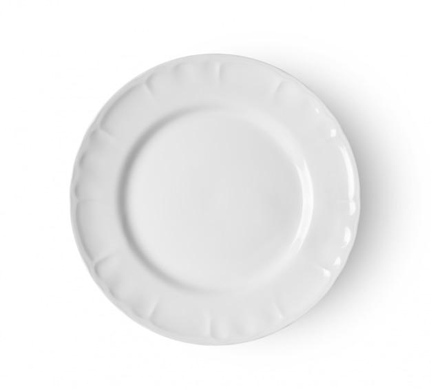 Prato redondo cerâmico vazio isolado no branco backgroud. vista do topo