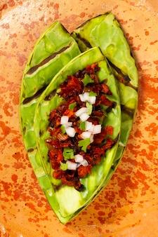 Prato tradicional mexicano de vista superior