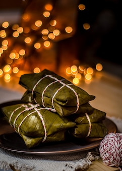 Prato tradicional tamales de natal na américa latina