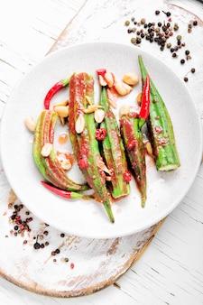 Prato vegetariano, de, quiabo