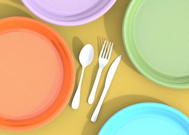 Pratos de plástico copos e talheres resíduos de plástico