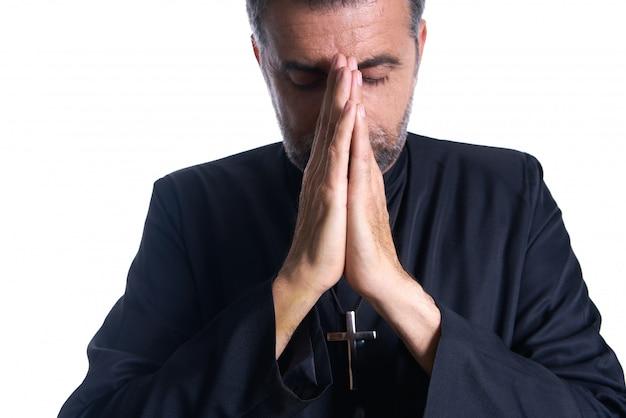 Praying mãos padre retrato do sexo masculino