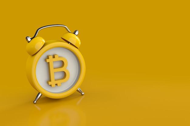 Prazo final do conceito para investir em criptomoeda mostrando o despertador com um bitcoin como a face do relógio em fundo amarelo. renderização 3d