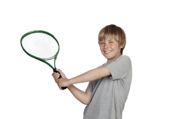 Pré-adolescente, jogando tênis, segurando, raquete