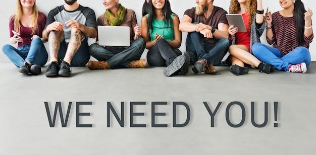 Precisamos de você conceito de mensagem