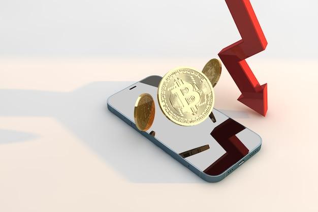 Preço do bitcoin caindo. conceito de criptomoeda de falha de negócios