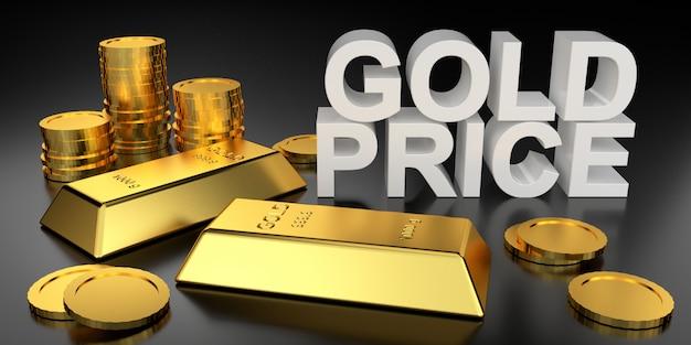 Preço do ouro para o banner do site. renderização 3d de barras de ouro.