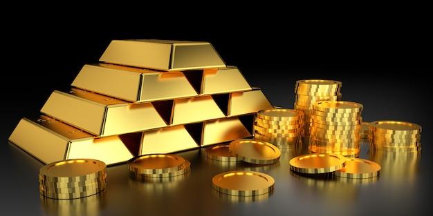 Preço do ouro para o site. renderização 3d de barras de ouro.