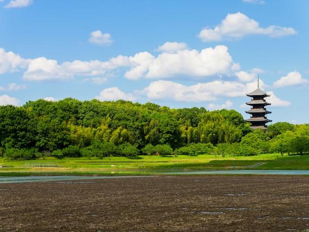 Prefeitura de okayama com fundo de pagode e árvores
