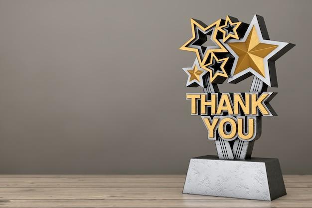Prêmio troféu com sinal de agradecimento dourado em uma mesa de madeira. renderização 3d