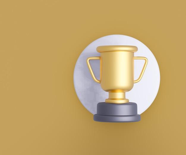 Prêmio troféu de ouro 3d sobre fundo amarelo. renderização de ilustração 3d.