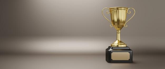Prêmio troféu de ouro com espaço de cópia, renderização em 3d.