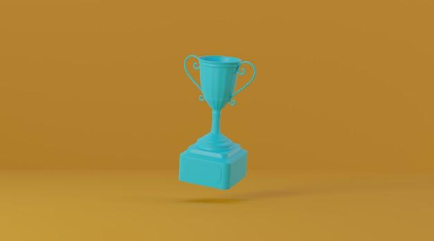 Prêmio troféu em fundo amarelo.