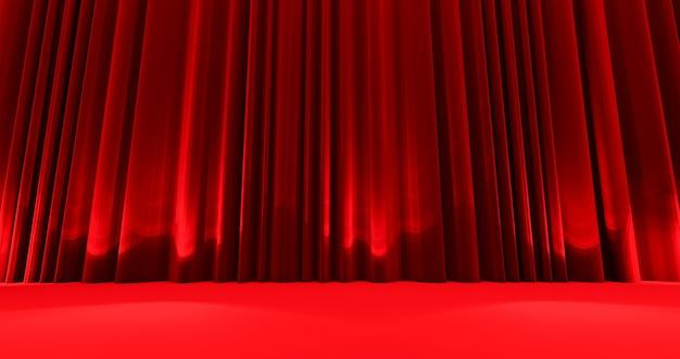 Prêmios mostram fundo com cortinas vermelhas fechadas.