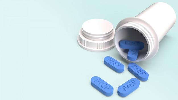 Prep é um comprimido de prevenção de hiv para médicos, renderização em 3d.