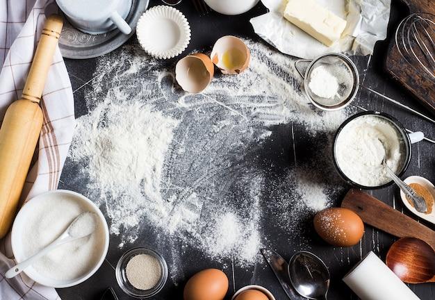 Preparação cozer ingredientes da cozinha para cozinhar