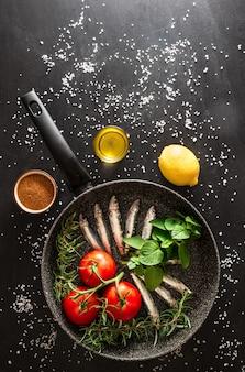 Preparação de um peixe grelhado