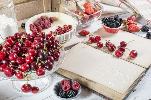 Preparação para bolo com frutas