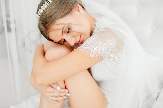 Preparativos da noiva no quarto loft