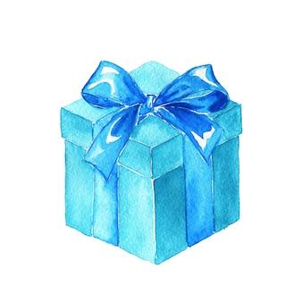 Presente azul aquarela com fita isolada no branco