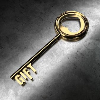 Presente - chave dourada sobre fundo preto metálico. renderização 3d