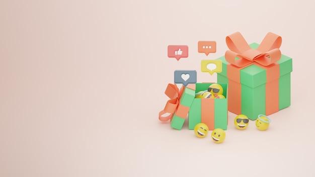 Presente de aniversário 3d ou caixa de brindes para comemoração e imagem premium emoji