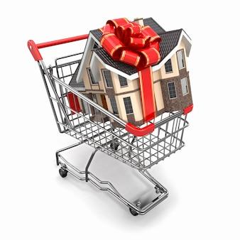Presente de casa com laço no carrinho de compras