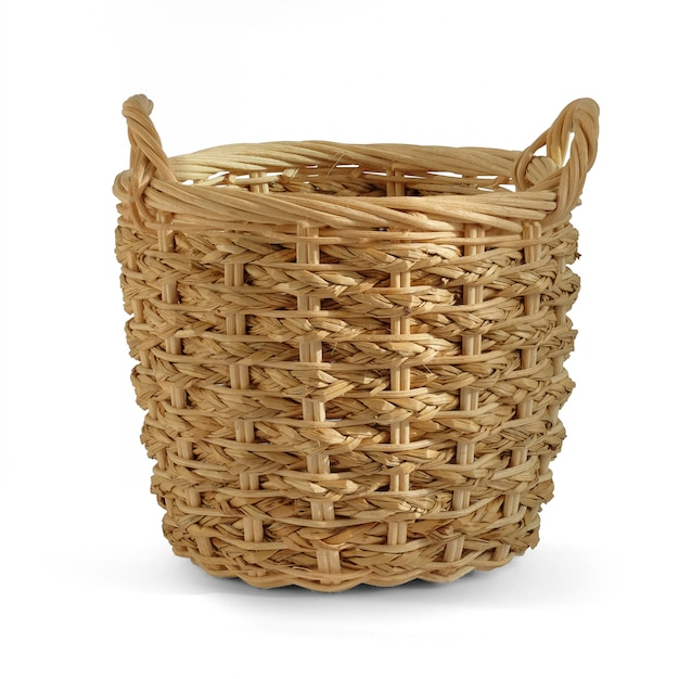 Presente de cesta de vime em branco para colocar produtos de legumes de frutas de padaria
