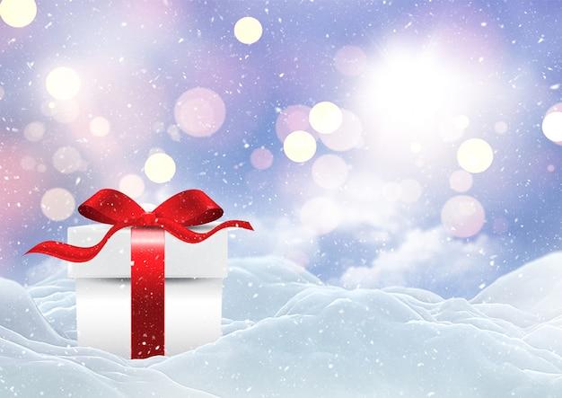 Presente de natal 3d, aninhado em uma paisagem de neve