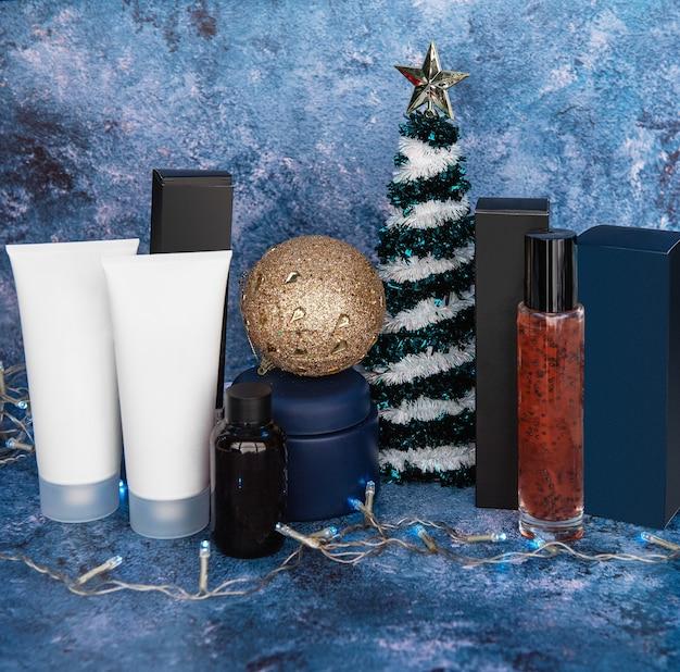 Presentes de ano novo ou natal de produtos para a pele e cosméticos