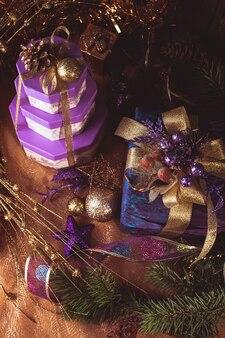Presentes de feliz natal e feliz ano novo
