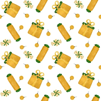 Presentes de natal dourados, papel digital de bastões de doces, padrão sem emenda de doces, papel de embrulho, plano de fundo