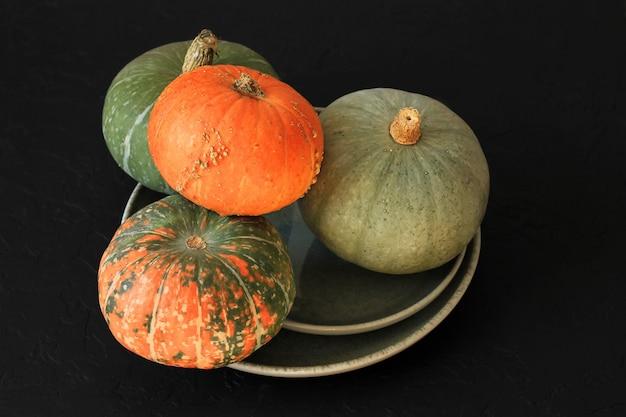 Presentes de outono, abóboras multicoloridas em um prato