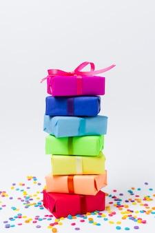 Presentes do arco-íris para festa de aniversário