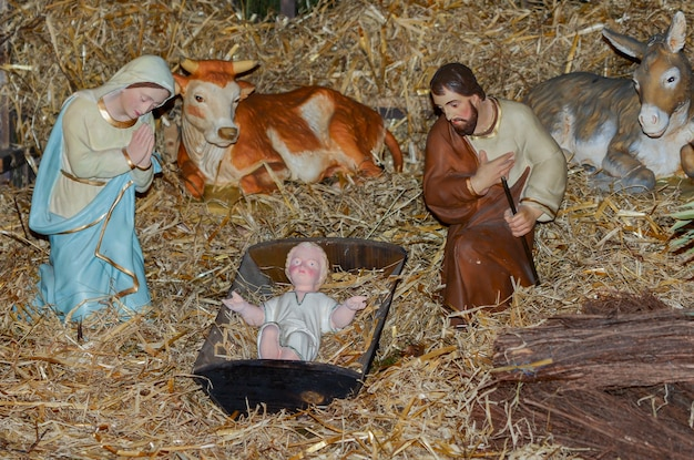 Presépio de natal com jesus josé e maria