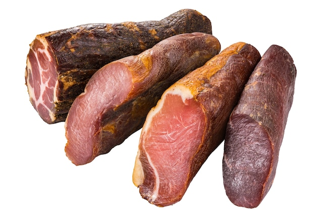 Presunto inteiro, salsicha, presunto, presunto, bacon. antipasto de carne, banner, menu, fundo branco.