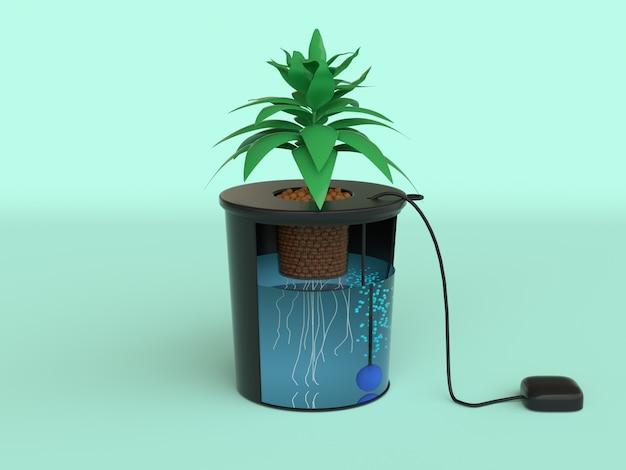 Preto árvore pote verde cena plano hidroponia sistema 3d render