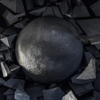 Preto com uma explosão de pedra e um círculo.