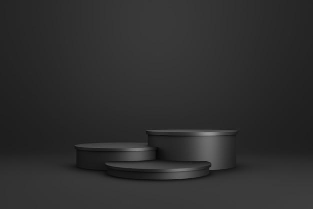 Preto da exposição do pódio ou do suporte três no fundo escuro com conceito do suporte do cilindro.