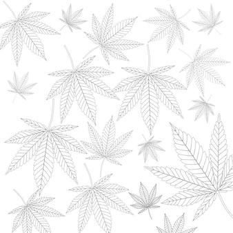 Preto e branco cannabis médica deixa o plano de fundo padrão closeup extrema. renderização 3d