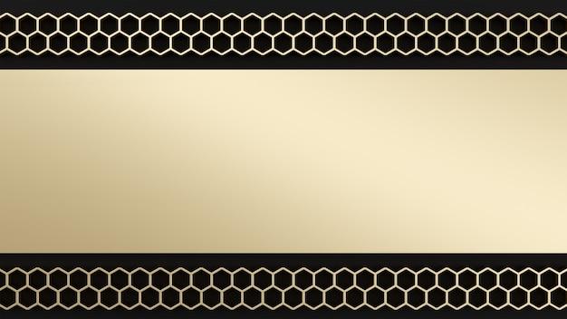 Preto e papel de parede de hexágono dourado. tema de sexta-feira negra 3d render