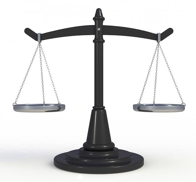 Preto escalas justiça isolado no fundo branco, renderização em 3d