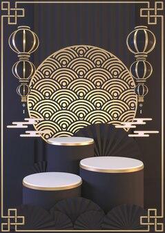 Preto exibir fundo vertical em estilo japonês para o produto em exibição. renderização 3d