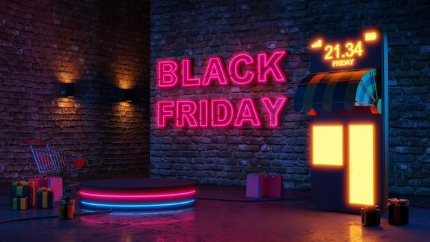 Preto sexta-feira luz de néon brilho pódio compras on-line no fundo da parede de tijolo. renderização 3d