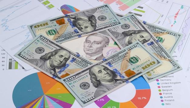 Previsão econômica de crescimento e queda da moeda. notas de dólar e hryvnia ucraniana entre gráficos e tabelas